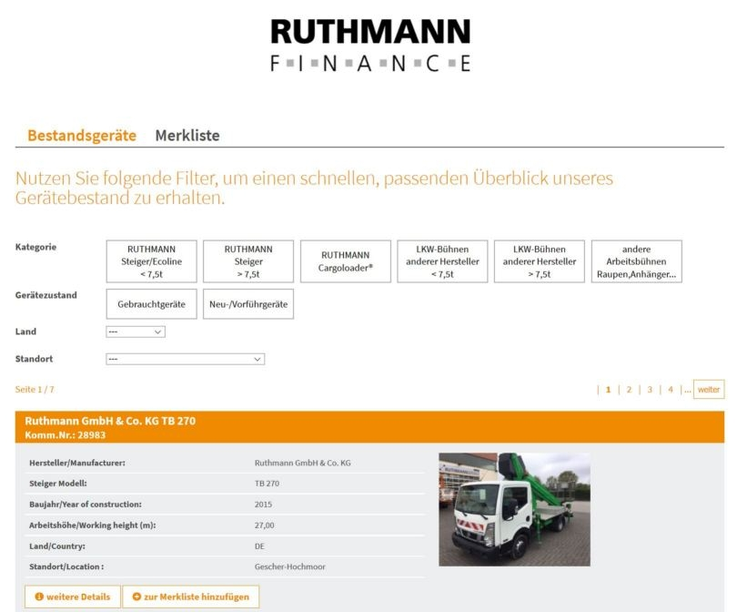 Screenshot Bestandsgeräte-Datenbank Ruthmann Finance